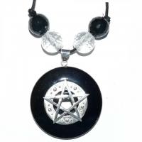 Hexen-Amulett mit Pentagramm & Onyx-Pi..