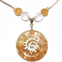 Sonnenfeuer-Amulett mit Eisenkiesel