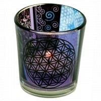 Flower of Life Set Windlicht und Edelsteine