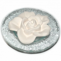 Im Namen der Rose - Duftstein Rose mit Glasteller